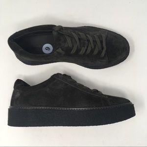 Vince Sz 9 Neela Pewter Suede Platform Sneakers